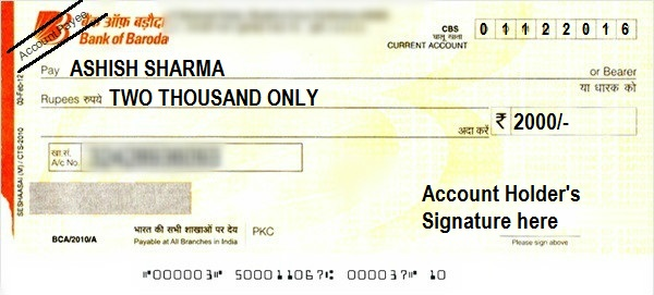 writing account payee cheque sample