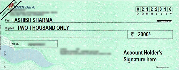 How to Write an Account Payee Cheque in ICICI Bank