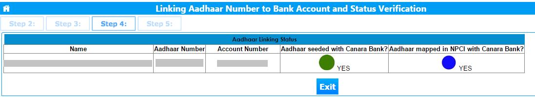 Aadhaar linked to Canara Bank Account