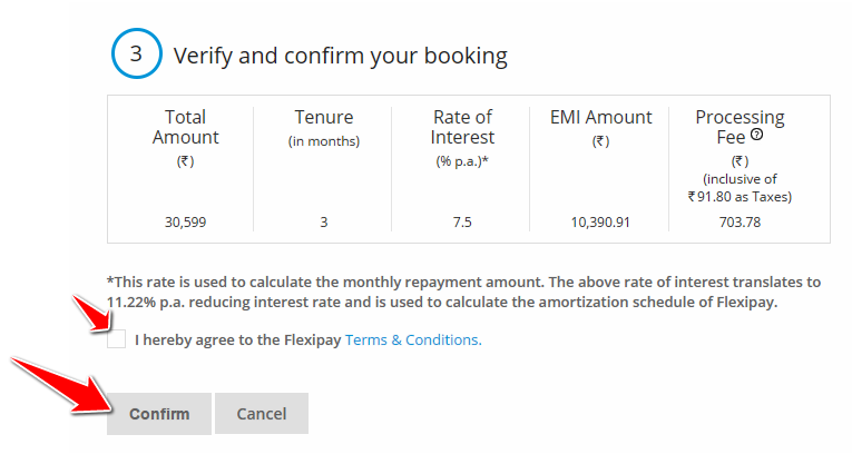 Verify and Confirm Booking in SBI Flexi Pay