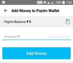 Add Money to Paytm Wallet by Mobile App