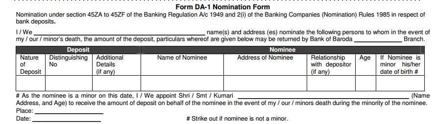 DA-1 Nomination Form in Bank of Baroda