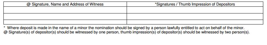 Nomination Form in Bank of Baroda