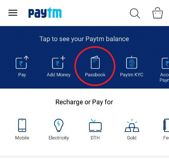 Open Passbook in Paytm