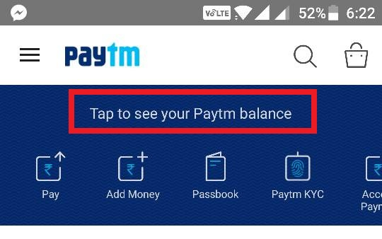 Tap to See Paytm Balance