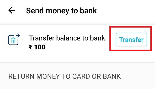 Transfer Paytm Balance to Bank Account