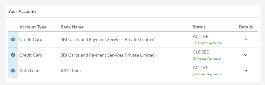 Credit Account Details